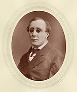 'Henry Fawcett (1833-1884) c1876, English academic, statesman and economist, blinded in an  accident in 1858. Liberal  Member of Parliament 1865-1884.As  Postmaster General 1880-1884 he introduced Parcel Post.'