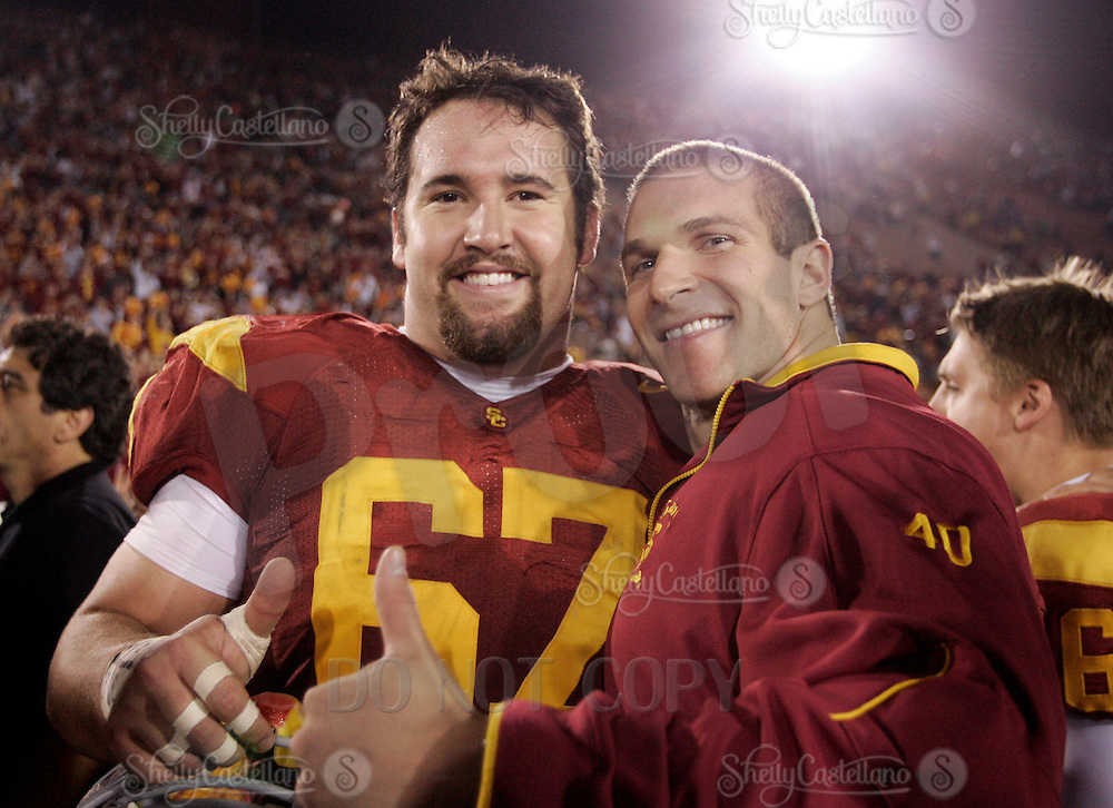 25 November 2006: Seniors Ryan Kalil and #40 Brandon Hancock after the NCAA College Football final home game of the season for the University of Southern California USC Trojans with a 44-24 victory over the University of Notre Dame Irish at the LA Memorial Coliseum.<br />