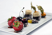 May0015665 . Daily Telegraph..Chocolate Dipped Fruits at Michel Roux Jnr's 3 Star Michelin restaurant Le Gavroche in London's Mayfair...London 4 August 09
