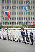 Three branches of Taiwan's military rehearse an honor guard parade in front of the Presidential Building ahead of October 10 National Day. The date commemorates the Wuchang Uprisingon 10-10-1911 which led to the collapse of the Qing Dynasty and establishment of the Republic of China. Nowadays it marks Taiwan's National Day and is a national holiday.