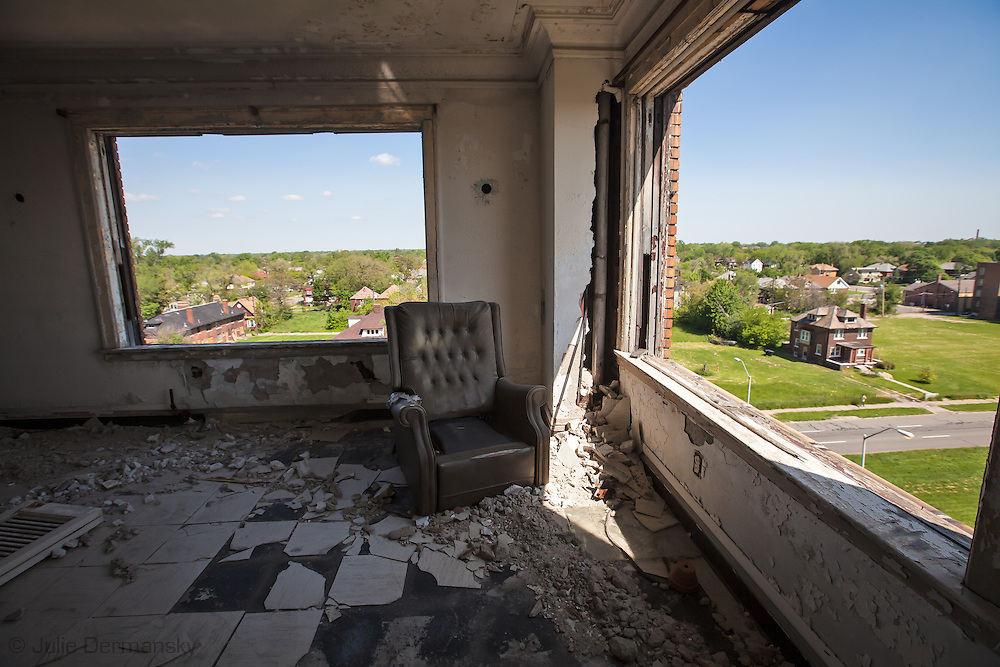 The Lee Plaza, a registered historic site , abandoned for years in Detroit Michagan.