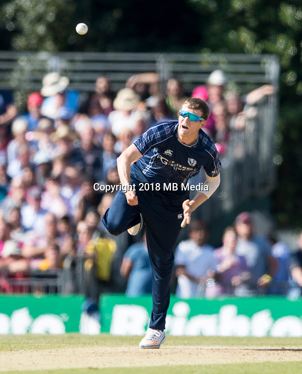EDINBURGH, SCOTLAND - JUNE 12: Michael Leask of Scotland bowls during the International T20 Friendly match between Scotland and Pakistan  at the Grange Cricket Club on June 12, 2018 in Edinburgh, Scotland. (Photo by MB Media/Getty Images)