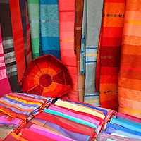 North Africa, Africa, Morocco, Marrakesh. Tradtional Moroccan textiles.