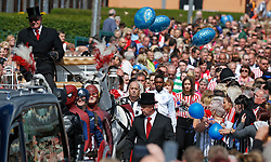 Jermain Defoe walks behind the funeral cortege for Bradley Lowery, the six-year-old football mascot whose cancer battle captured hearts around the world, on their way to St Joseph's Church for his funeral in Blackhall, County Durham.