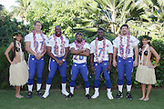 KO OLINA - FEBRUARY 11:  NFC Atlanta Falcons 2005 NFL Pro Bowl All-Stars (players left to right: Patrick Kerney #97, Alge Crumpler #83, Allen Rossum #20, Michael Vick #7, Keith Brooking #56) and Hawaiian Hula girls pose for their 2005 NFL Pro Bowl team photo on February 11, 2005 in Ko Olina, Hawaii. ©Paul Anthony Spinelli