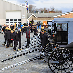 Bart, PA / USA - March 3, 2018: Used Amish buggies ready for sale at a public auction in Lancaster County.
