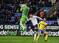 Bolton Wanderers' Will Buckley puts Leeds United's goalkeeper  Bailey Peacock-Farrell under pressure<br /> <br /> Photographer Andrew Kearns/CameraSport<br /> <br /> The EFL Sky Bet Championship - Bolton Wanderers v Leeds United - Saturday 15th December 2018 - University of Bolton Stadium - Bolton<br /> <br /> World Copyright © 2018 CameraSport. All rights reserved. 43 Linden Ave. Countesthorpe. Leicester. England. LE8 5PG - Tel: +44 (0) 116 277 4147 - admin@camerasport.com - www.camerasport.com