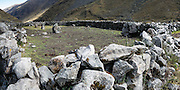 Ancient pre-Inca rock wall. Day 8 of 10: Trek 10 days around Alpamayo, in Huascaran National Park, Cordillera Blanca, Andes Mountains, Peru, South America (UNESCO World Heritage Site). This panorama was stitched from 2 overlapping photos.