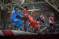 #2 (VAN GORKOM Jelle) NED and #100 (MAHIEU Romain) FRA at the 2016 UCI BMX Supercross World Cup in Manchester, United Kingdom<br /> <br /> A high res version of this image can be purchased for editorial, advertising and social media use on CraigDutton.com<br /> <br /> http://www.craigdutton.com/library/index.php?module=media&pId=100&category=gallery/cycling/bmx/SXWC_Manchester_2016