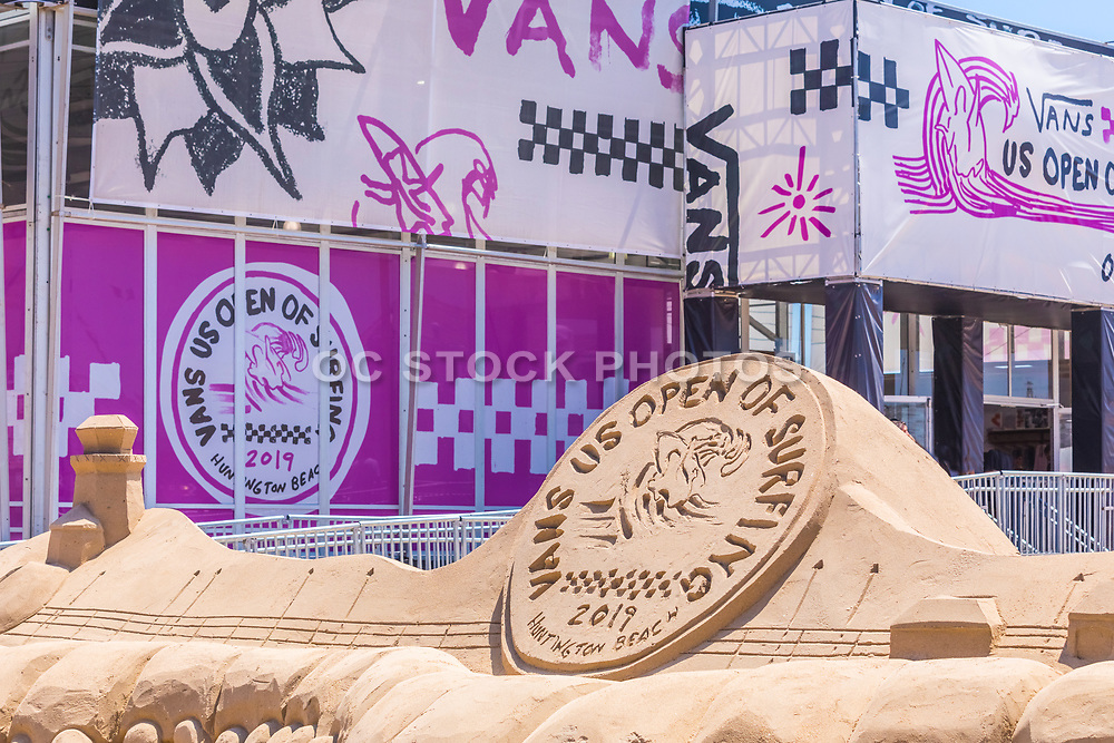 Vans US Open of Surfing Logo Sand Sculpture at Huntington Beach Pier