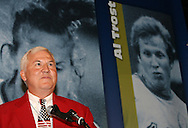 28 August 2006: 2006 inductee Al Trost gives his induction speech. The National Soccer Hall of Fame Induction Ceremony was held at the National Soccer Hall of Fame in Oneonta, New York.