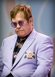Sir Elton John at a plenary session to launch a new coalition of global Aids funders the MenStar Coalition during the Aids 2018 summit in Amsterdam, the Netherlands, Tuesday July 24, 2018. Photo by Robin Utrecht/ABACAPRESS.COM