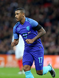 Luciano Marsingh of the Netherlands celebrates after scoring during the International Friendly Match between England and the Netherlands at Wembley Stadium in London, Britain, on March 29, 2016. England lost 1-2. EXPA Pictures © 2016, PhotoCredit: EXPA/ Photoshot/ Han Yan<br /> <br /> *****ATTENTION - for AUT, SLO, CRO, SRB, BIH, MAZ, SUI only*****