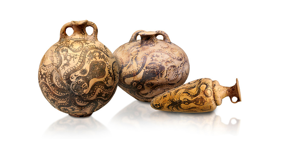 Minoan pottery with stylised octopus decorations, 1500-1400 BC, Heraklion Archaeological Museum, white background.  <br /> <br /> From Left to right<br /> 1- flask with Marine style stylised octopus design,   Palaikastro,  1500-1450 BC; <br /> 2.Minoan clay flask with octopus design, Speial Palatial Style , Pseira  1500-1400 BC BC, <br /> 3- conical rhython with Marine style stylised octopus design,   Palaikastro 1500-1450 BC; .<br /> <br /> If you prefer to buy from our ALAMY PHOTO LIBRARY  Collection visit : https://www.alamy.com/portfolio/paul-williams-funkystock/minoan-art-artefacts.html . Type -   Heraklion   - into the LOWER SEARCH WITHIN GALLERY box. Refine search by adding background colour, place, museum etc<br /> <br /> Visit our MINOAN ART PHOTO COLLECTIONS for more photos to download  as wall art prints https://funkystock.photoshelter.com/gallery-collection/Ancient-Minoans-Art-Artefacts-Antiquities-Historic-Places-Pictures-Images-of/C0000ricT2SU_M9w
