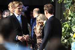Lucas Zwirner and Sienna Miller leave York Minster after the wedding of Ellie Goulding and Caspar Jopling.
