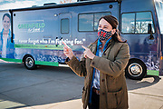 "27 OCTOBER 2020 - MARSHALLTOWN, IOWA: THERESA GREENFIELD talks to administrators and local officials during a campaign visit to the UnityPoint Health complex in Marshalltown. Greenfield, the Democratic candidate for US Senate, visited UnityPoint Health - Marshalltown Medical Park in Marshalltown, about 55 miles from Des Moines, and talked to administators and local officials about jobs at the medical center and the need for rural healthcare. It was a part of her ""Jobs That Need to Get Done"" tour and Get Out the Vote efforts before the Nov. 3 election. Greenfield is running against incumbent US Senator Joni Ernst, a Republican.               PHOTO BY JACK KURTZ"