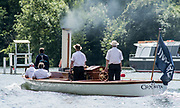 """Henley. Berks, United Kingdom. <br /> <br /> Steam Launch, """"Consulta"""" Umpire in the Stern and full company of crew, during the 2017 Henley' Women's Regatta. Rowing on, Henley Reach. River Thames. <br /> <br /> <br /> Saturday  17/06/2017<br /> <br /> <br /> [Mandatory Credit Peter SPURRIER/Intersport Images]"""