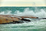 Waves in Georgian Bay crashing on rocks<br />