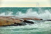 Waves in Georgian Bay crashing on rocks<br />Killarney Provincial Park<br />Ontario<br />Canada