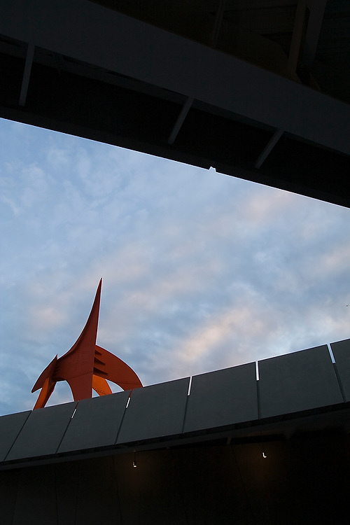 View from Elliott Avenue of the Eagle sculpture by Alexander Calder (1971) at the Seattle Art Museum Olympic Sculpture Park in Seattle, Washington.