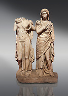 Roman statue of two women; Marble. Perge. 2nd century AD. Inv 3271. Antalya Archaeology Museum; Turkey. .<br /> <br /> If you prefer to buy from our ALAMY STOCK LIBRARY page at https://www.alamy.com/portfolio/paul-williams-funkystock/greco-roman-sculptures.html . Type -    Antalya     - into LOWER SEARCH WITHIN GALLERY box - Refine search by adding a subject, place, background colour, museum etc.<br /> <br /> Visit our ROMAN WORLD PHOTO COLLECTIONS for more photos to download or buy as wall art prints https://funkystock.photoshelter.com/gallery-collection/The-Romans-Art-Artefacts-Antiquities-Historic-Sites-Pictures-Images/C0000r2uLJJo9_s0