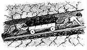 Boy 'putters' moving coal in a narrow seam - Lancashire, England. From Matthias Dunn 'A Treatise on the Winning and Working of Collieries', Newcastle-upon-Tyne, 1848