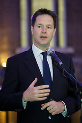 © licensed to London News Pictures. London, UK 27/01/2014. Deputy Prime minister Nick Clegg delivering a speech to commemorate the Holocaust victims at the launch of the Holocaust Memorial Day at King's Cross Station. Photo credit: Tolga Akmen/LNP