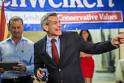 28 AUGUST 2012 - PHOENIX, AZ:  Rep. DAVID SCHWEIKERT (R-AZ) waves to a supporter at his victory party Tuesday. Schweikert faced Congressman Ben Quayle in what was the hardest Republican primary election in Arizona in 2012. Both were incumbent Republican freshmen elected to Congress from neighboring districts in 2010. They ended up in the same district at the end of the redistricting process and faced off against each other in the primary to represent Arizona's 6th Congressional District, which is made up of Scottsdale, Paradise Valley and parts of Phoenix. The district is solidly Republican and the winner of the primary is widely expected to win November's general election. Both are conservative Republicans with Tea Party backing.   PHOTO BY JACK KURTZ
