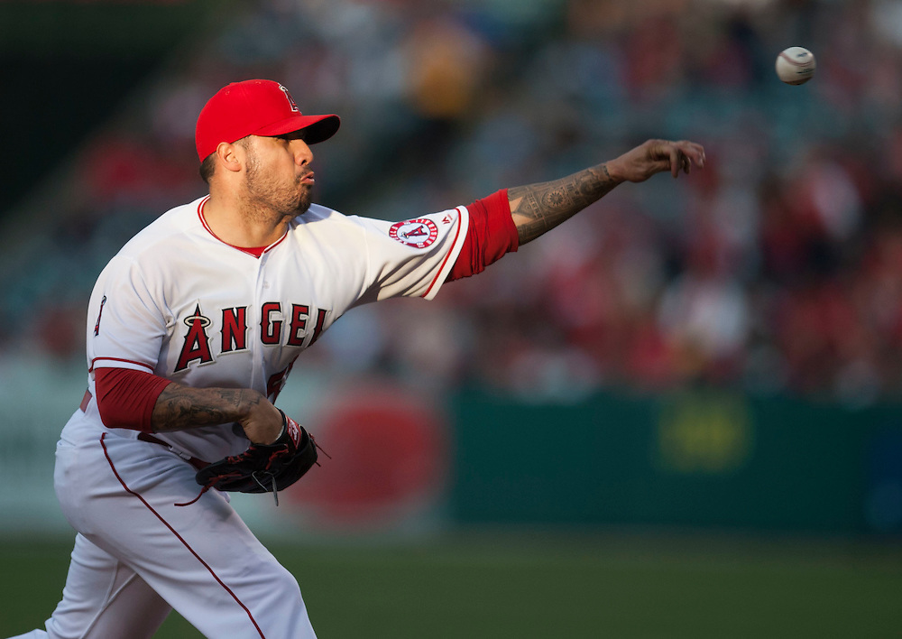The Angels' Hector Santiago pitches against the Cleveland Indians Friday at Angel Stadium. Santiago gave up six runs, five earned, on seven hits in one and a third innings.<br /> <br /> ///ADDITIONAL INFO:   <br /> <br /> angels.0611.kjs  ---  Photo by KEVIN SULLIVAN / Orange County Register  -- 6/10/16<br /> <br /> The Los Angeles Angels take on the Cleveland Indians Friday at Angel Stadium.