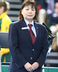 February 23, 2018 - London, England, United Kingdom - Umpire Keiko Shibata of Japan.during 2018 International Table Tennis Federation World Cup  at Copper Box Arena, London  England on 23 Feb 2018. (Credit Image: © Kieran Galvin/NurPhoto via ZUMA Press)
