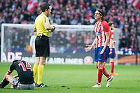 Atletico de Madrid Filipe Luis talking with the referee during La Liga match between Atletico de Madrid and Athletic Club and Wanda Metropolitano in Madrid , Spain. February 18, 2018. (ALTERPHOTOS/Borja B.Hojas)