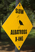 Albatross crossing sign in Princeville, Island of Kauai, Hawaii USA