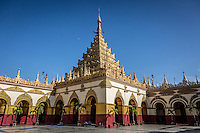 The beautiful Mahamuni Pagoda in Mandalay, Burma.
