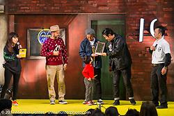 Bobby Green gives his award to Neighborhood's Shinsuke Takizawa at the 26th Annual Yokohama Hot Rod and Custom Show 2017. Yokohama, Japan. Sunday December 3, 2017. Photography ©2017 Michael Lichter.