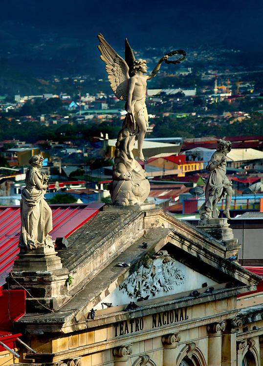 Costa Rica, San Jose, National Theater, Statues, Front Entrance, Landmark