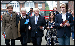 London Mayor Boris Johnson with his family L to R Leo (brother),Father Stanley, Boris, His wife Marina, Brother Jo, campaigning in Orpington, on  The Mayoral Election Day, Thursday May 3, 2012. Photo By Andrew Parsons/i-Images