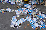 Printed tourism booklets from the London Pass ticketing organisation await collection by a waste contractor, to be recycled from a West End pavement, on 29th September 2020, in London, Westminster, England. In future, this literature is to be published digitally by London Pass, rather than remaining in physical form. The London Pass is a digital sightseeing pass that gives visitors to London access to 80+ attractions in the city.