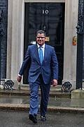 British lawmaker Alok Sharma, the new Business Secretary leaves 10 Downing Street in London, Thursday, Feb. 13, 2020. (Photo/Vudi Xhymshiti)