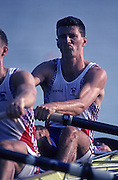 Barcelona, SPAIN.   GBR  M4+.  bow Peter MULKERRINS  1992 Olympic Rowing Regatta Lake Banyoles, Catalonia [Mandatory Credit Peter Spurrier/ Intersport Images] Last time Men's coxed pair raced at the Olympics