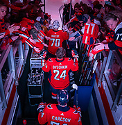Alex Ovechkin trades in his #8 sweater for #24 in honor of Kobe Bryant at Capital One Arena on January 29, 2020.