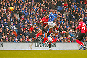 Lassana Coulibaly flicks the ball on during the Ladbrokes Scottish Premiership match between Rangers and Kilmarnock at Ibrox, Glasgow, Scotland on 16 March 2019.