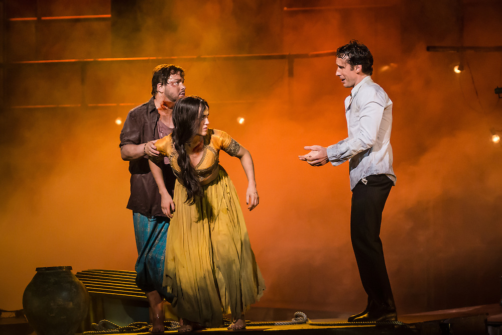 """LONDON, UK, 17 October, 2016.  Left to right: Robert McPherson (as """"Nadir""""), Claudia Boyle (as """"Leila"""") and Jaques Imbrailo (as """"Zurga"""") rehearse for the revival of director Penny Woolcock's production of Bizet's opera """"The Pearl Fishers"""" at the London Coliseum for the English National Opera.  The production opens on 19 October."""
