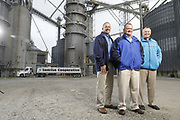 SHOT 10/29/18 9:45:31 AM - Sunrise Cooperative is a leading agricultural and energy cooperative based in Fremont, Ohio with members spanning from the Ohio River to Lake Erie. Sunrise is 100-percent farmer-owned and was formed through the merger of Trupointe Cooperative and Sunrise Cooperative on September 1, 2016. Photographed at the Clyde, Ohio grain elevator was George D. Secor President / CEO and John Lowry<br /> Chairman of the Board of Directors with  CoBank RM Gary Weidenborner. (Photo by Marc Piscotty © 2018)