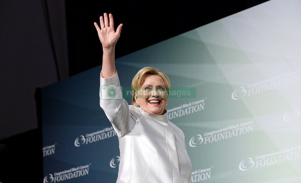 2016 Democratic nominee for president of the United States Hillary Clinton waves on stage at the Congressional Black Caucus Foundation's 46th Annual Legislative Conference Phoenix Awards Dinner, September 17 2016, in Washington, DC, USA. Photo by Olivier Douliery/Pool/ABACAPRESS.COM