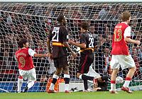 Photo: Ed Godden/Sportsbeat Images.<br /> Arsenal v Sevilla. UEFA Champions League Group H. 19/09/2007. Arsenal's Eduardo (far left) scores to make it 3-0.