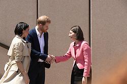 AU_1369901 - Sydney, AUSTRALIA  -  Prince Harry and Meghan tour Opera House, Taronga Zoo after baby news. Royal watchers swamp Opera House for Meghan Markle and Prince Harry's first day on tour downunder.<br /> <br /> Pictured: Prince Harry, Meghan Markle and Gladys Berejiklian<br /> <br /> BACKGRID Australia 16 OCTOBER 2018 <br /> <br /> BYLINE MUST READ: Trevor Goddard / BACKGRID<br /> <br /> Phone: + 61 2 8719 0598<br /> Email:  photos@backgrid.com.au