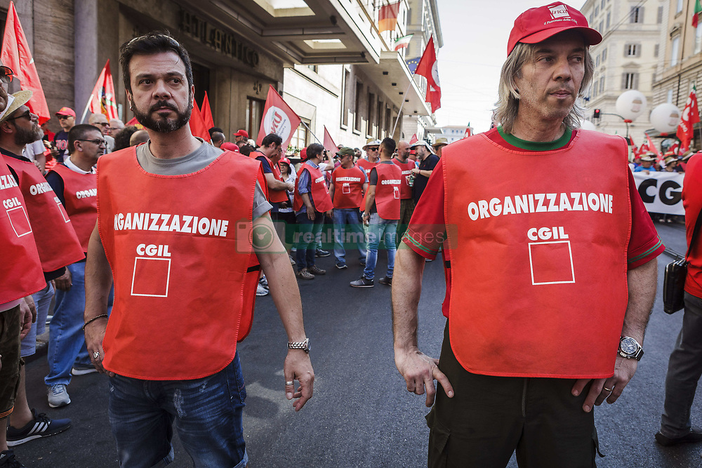 June 17, 2017 - Rome, Italy - CGIL, Italian trade union, calls for a demonstration to protest against the reintroduction of a new type of work 'voucher' system, coupons to pay jobs for less, that were abolished last March with an amendment of the Government in Rome, Italy on June 17, 2017. (Credit Image: © Giuseppe Ciccia/NurPhoto via ZUMA Press)