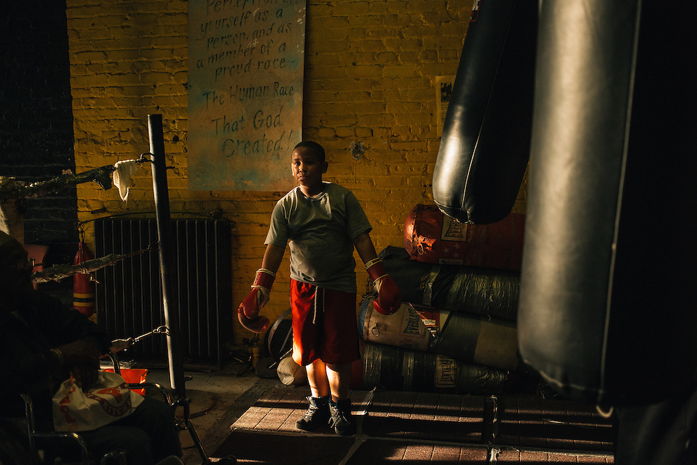 Chavez, 11, works out at Midtown Youth Academy on 14th St. NW in Washington, D.C. Midtown is a holdout among businesses in gentrifying 14th Street Corridor area of D.C. The once-thriving boxing gym and afterschool community center has been run for nearly 50 years by Eugene Hughes, one of the original Black Panthers and patriarch in the District.