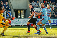 GOAL! Danny Mullen of St Mirren scores the equaliser during the Ladbrokes Scottish Premiership match between St Mirren and Dundee at the Paisley 2021 Stadium, St Mirren, Scotland on 30 March 2019.
