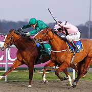 Discoverer and Nicky Mackay winning the 4.30 race